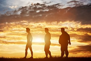 Three men silhouettes with different