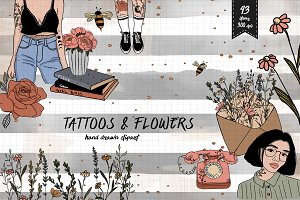 Fall Clipart - Flowers and Tattoos