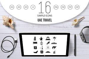 UAE travel icons set, simple style