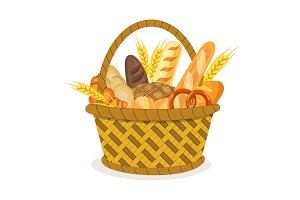 Basket with wheat and fresh bread.