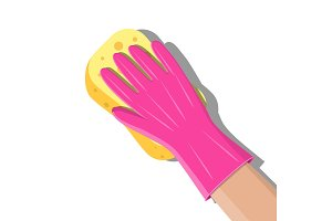 Hand in gloves with sponge wash wall