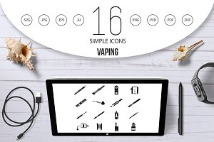Vaping icons set, simple style