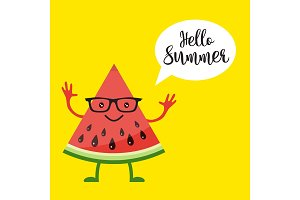 card with funny watermelon