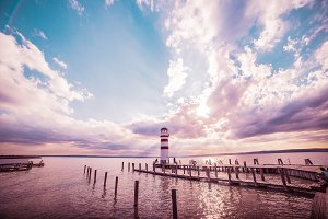 Lighthouse and Sunset: Colorful Edit