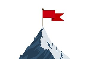 Red flag on mountain peak.