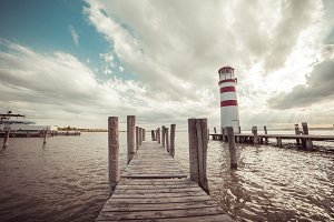 Pier and Beautiful Lighthouse