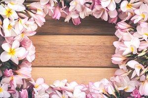 Flower on wooden background.