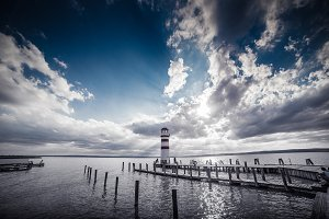 Lighthouse and Sunset: Dramatic