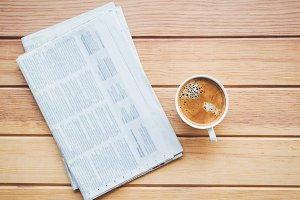 cup of coffee with Newspaper