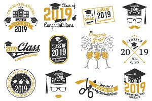 Vector Class of 2019 and 2018 badges