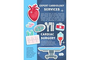 Vector poster of heart cardiology
