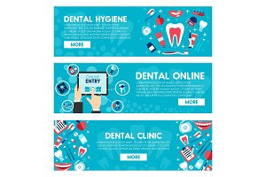 Vector banners of dental medicine