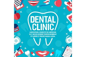 Vector poster of dental clinic tooth