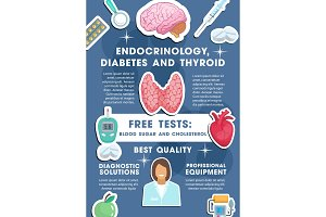 Vector poster for endocrinology