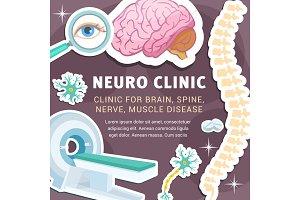 Vector neurology medicine and clinic