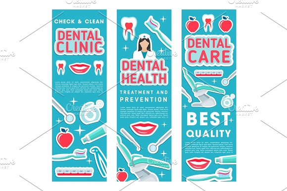 Vector banners of dental health