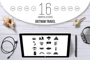 Vietnam travel icons set, simple