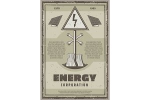 Vector retro poster of energy power