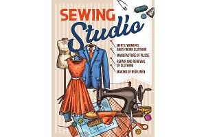 Atelier sewing and tailoring vector