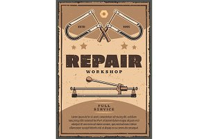 Vector retro poster of repair work