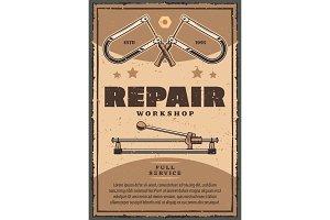 Vector retro poster of repair work