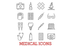 Vector line icons of medical pills