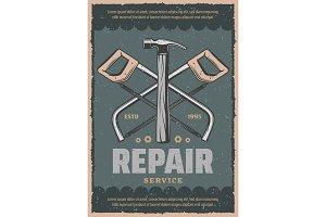 Vector retro poster of repair saw