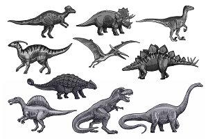 Vector sketch dinosaurs icons set