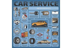 Vector infographics of car service