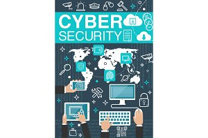Cyber security internet vector