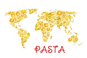 Pasta vector Italian macaroni world