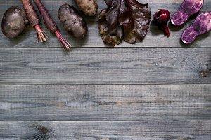 Background with violet vegetables