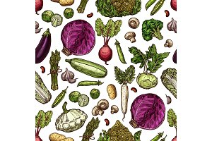 Vegetables vector seamless pattern