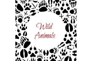Vector wild animals footprints