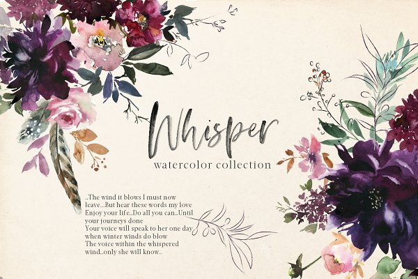 Illustrations and Illustration Products: whiteheartdesign - Whisper Watercolor Floral Clipart