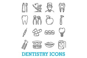 Vector thin line icons of dentistry
