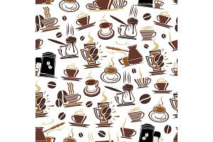 Vector pattern of coffee cups and