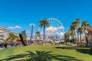 Big carnival fair wheel in Nice, Fra