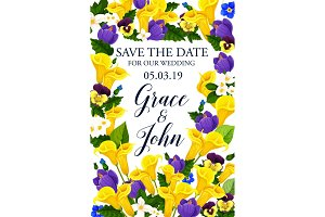 Save the Date vector wedding flowers