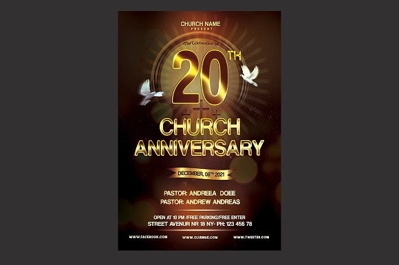 Church Anniversary Flyer Flyer Templates Creative Market