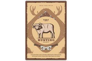 Vector vintage buffalo poster