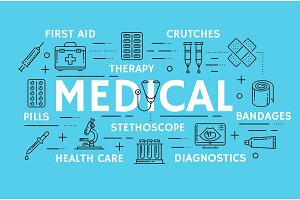 Vector medical thin line art symbols