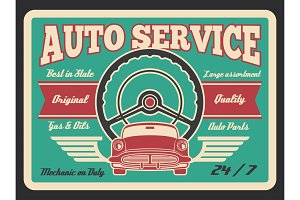 Vector vintage poster for car auto