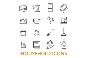 Vector thin line household icons set