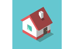 Isometric house, flat design