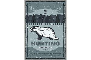 Vector vintage badger hunt poster