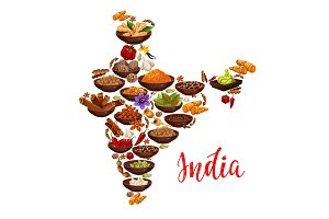 Vector India map of Indian spices