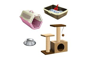 Vector set of pet shop accessories.