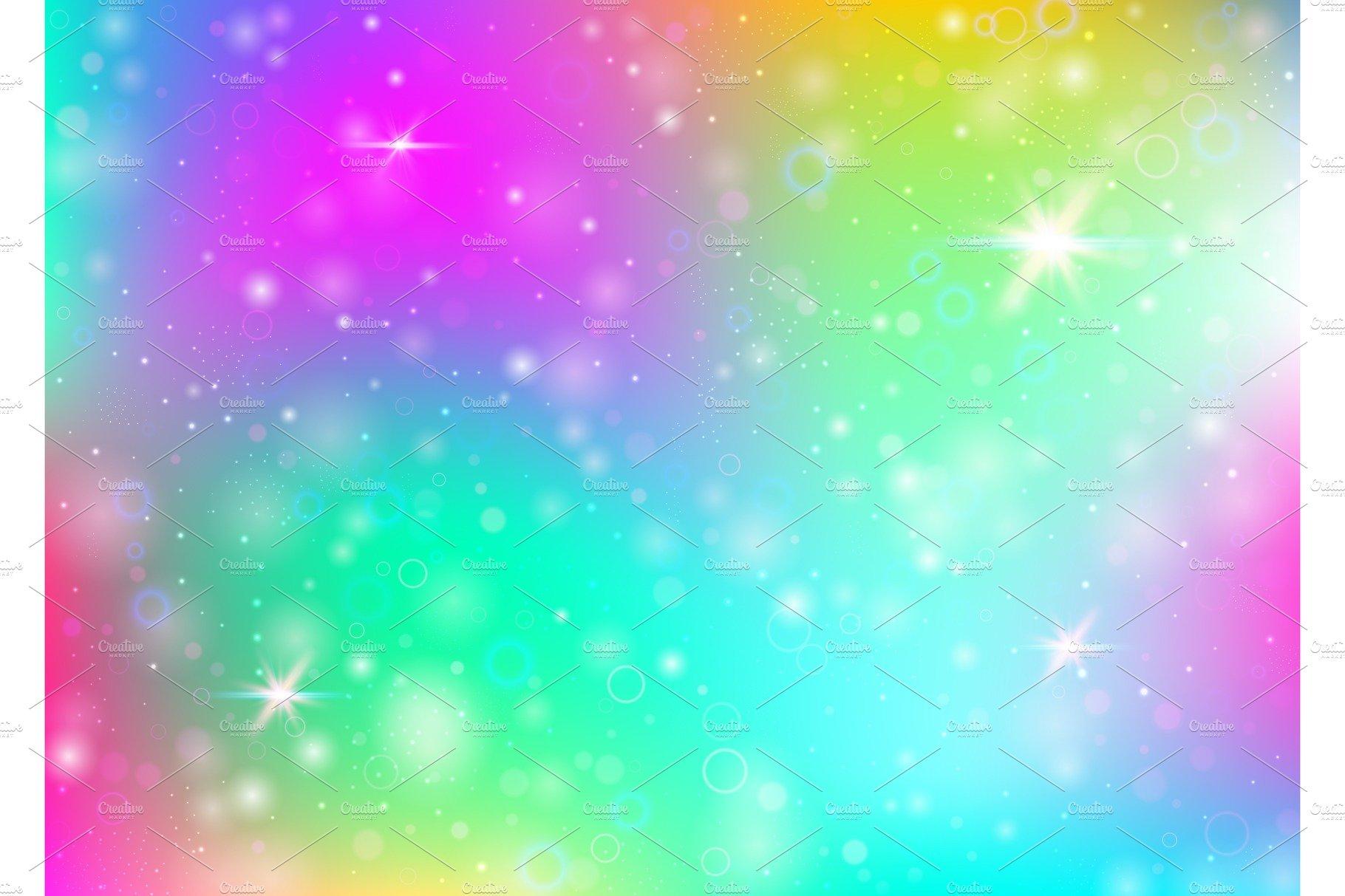 Unicorn background with rainbow mesh ~ Illustrations ...