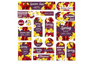 Vector flowers tags for spring sale